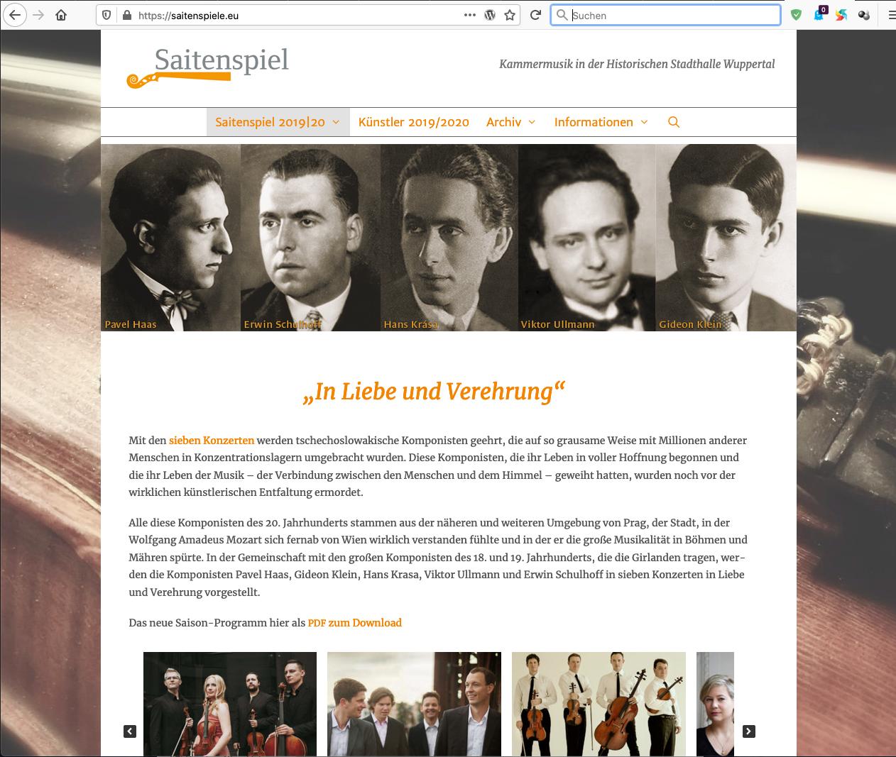 Darstellung der Saitenspiel-Website